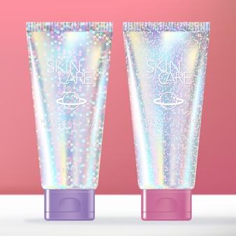 Confezione di tubi olografici di bellezza o da toeletta con glitter alla moda per crema per le mani, lozione o shampoo.