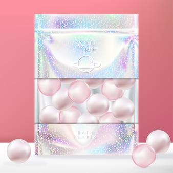 Confezione bustina, sacchetto o pacchetto con chiusura lampo olografica glitter alla moda con finestra trasparente. perla da bagno rosa.