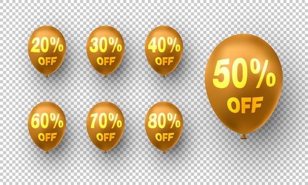 Palloncini d'oro alla moda con percentuale di sconti