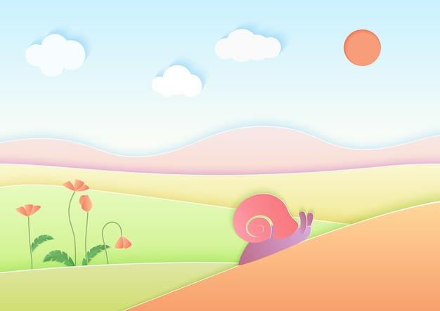 Sfondo di paesaggio estivo di carta sfumata alla moda con lumaca carina