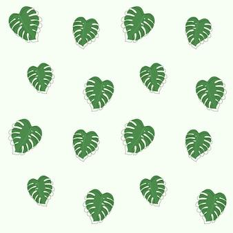 Monstera verde alla moda lascia il modello senza cuciture con contorno di doodle.