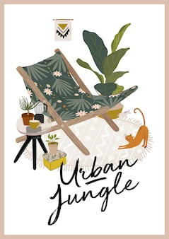 Trendy greenery at home jungle interior con decorazioni per la casa