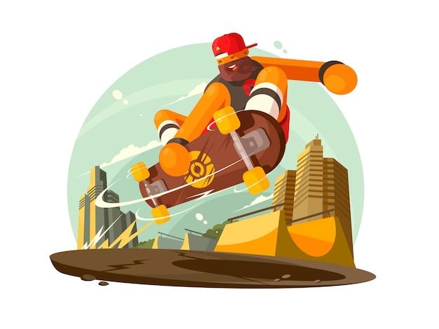 Ragazzo alla moda che guida lo skateboard in città. illustrazione piatta