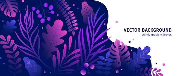 Sfondo orizzontale alla moda con vegetazione tropicale colorata sfumata