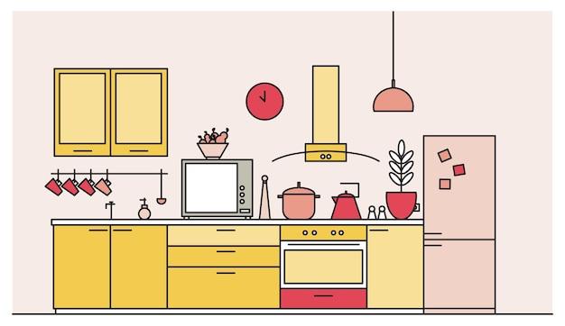 Interni alla moda della cucina piena di mobili moderni, elettrodomestici, pentole, attrezzature da cucina, strumenti, attrezzature e decorazioni per la casa.