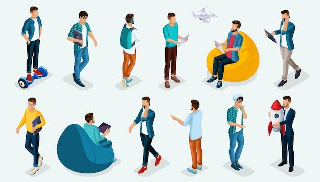 Persone isometriche alla moda, adolescenti persona 3d, giovani e gadget moderni, liberi professionisti, startup, coworking, lavoro d'ufficio, imprenditore isolato su una luce