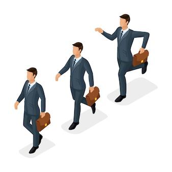 Gente isometrica d'avanguardia, uomini d'affari, movimento jogging, passo veloce, raggiungimento obiettivo, giovane uomo d'affari con valigetta isolato