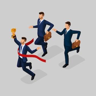 Gente isometrica d'avanguardia, uomini d'affari che corrono, successo, ottenere tazza, raggiungere l'obiettivo, giovane uomo d'affari isolato