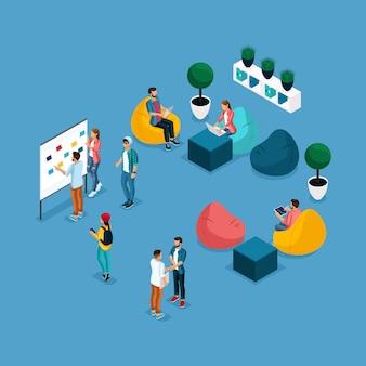 Centro di coworking, persone e gadget isometrici alla moda, formazione e discussione, pera morbida di krasla, comunicante con i lavoratori dell'ambiente di lavoro sono isolati su uno sfondo blu