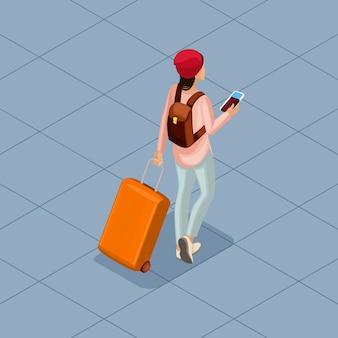 Illustrazione isometrica alla moda di persone e gadget
