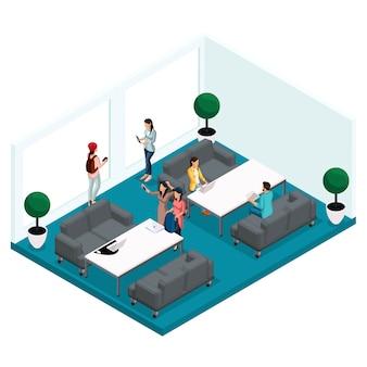 Persone e gadget isometrici alla moda, centro di coworking in camera, lavoro d'ufficio e discussioni, interni eleganti, ambiente di lavoro
