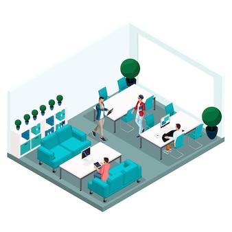 Persone e gadget isometrici alla moda, centro di coworking in camera, lavoro d'ufficio, tecnologia hi-tech, laptop, pad