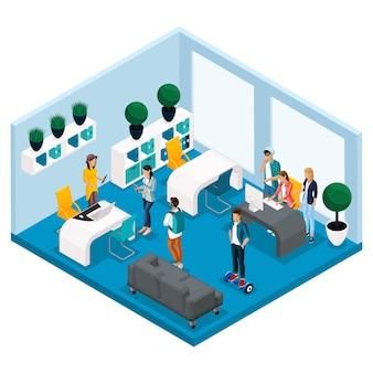 Persone e gadget isometrici alla moda, sala coworking center, sala per lavoro creativo e gioco, interni eleganti, laptop, lavoro