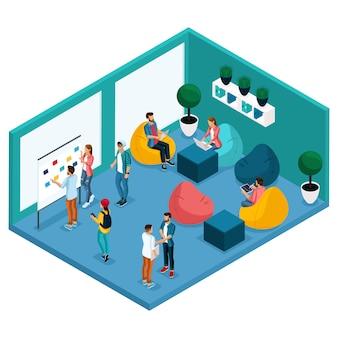 Persone e gadget isometrici alla moda, sala coworking center, sala per il relax e la discussione, morbida pera krasla, lavoro