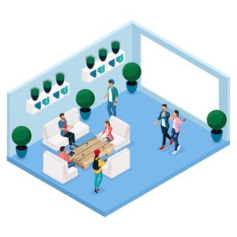 Persone e gadget isometrici alla moda, sala coworking center, sala per il relax e la discussione, interni eleganti, brainstorming, meeting, lavoro