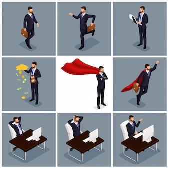 Vettore isometrico d'avanguardia della gente, uomini d'affari che saltano, correndo, idea, gioia, scena di affari, collegata ad un giovane uomo d'affari, lavoro d'ufficio