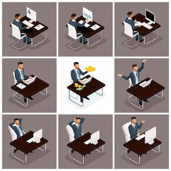 Vettore isometrico d'avanguardia della gente, lavoro d'ufficio degli uomini d'affari, scena di affari relativa al giovane uomo d'affari, concetto di un uomo d'affari lavorante ad una tavola