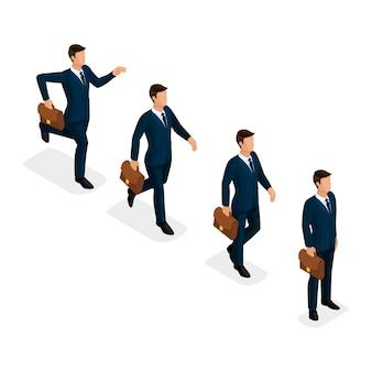 Vettore isometrico d'avanguardia della gente, uomini d'affari, correre, passo veloce, idea, movimento, raggiungimento di obiettivo, scena di affari, giovane uomo d'affari isolato