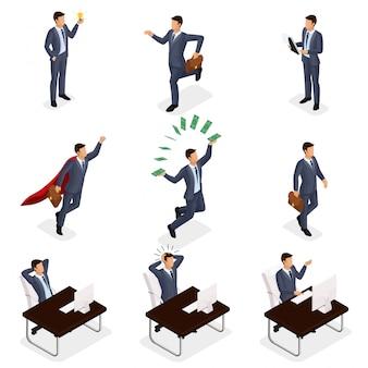 Gente isometrica d'avanguardia di vettore, uomini d'affari che saltano, correndo, idea, gioia, scena di affari, collegata ad un giovane uomo d'affari isolato