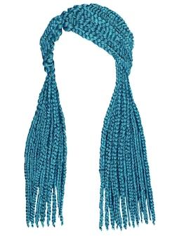 Capelli lunghi alla moda treccine di colore blu. stile di bellezza alla moda.