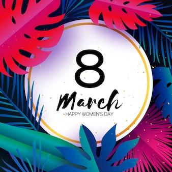 Marzo alla moda. foglie di palma tropicale, piante