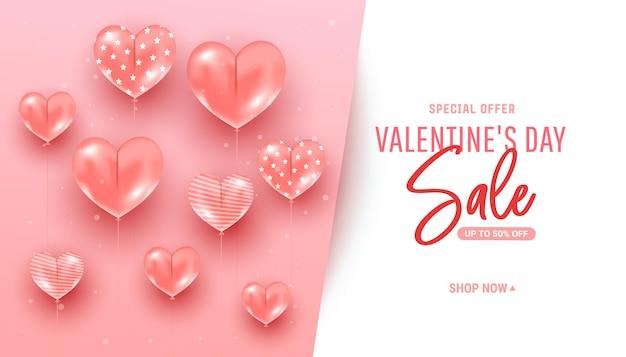 Sfondo rosa minimal alla moda con palloncini a forma di cuore d'aria realistici che volano testo. banner di modello di promozione di sconto di vendita di san valentino.