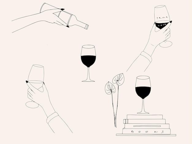 Collezione d'arte alla linea minimalista alla moda con la mano di una donna che fa dorare un bicchiere di vino libri bottiglia di fiori