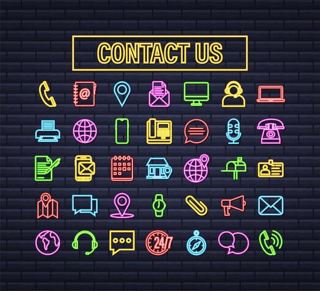 Icona al neon alla moda con contattaci set di icone di affari di linea sottile. per il web design. illustrazione di riserva di vettore.