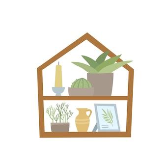 Arredamento nordico alla moda per la casa con piante in vaso, in piedi su uno scaffale.