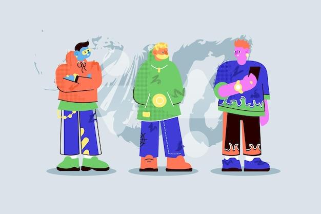Corpo a figura intera di persone alla moda