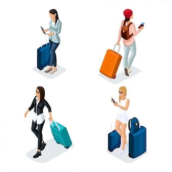 Adolescente vettoriale isometrico di persone alla moda, una giovane ragazza in una giacca di pelle, pantaloni di pelle, abiti eleganti, ragazza alla moda, viaggiatore, vacanze, aeroporto, bagagli, telefono social network internet