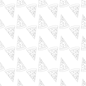 Modello di pizza alla moda con fette di pizza disegnate a mano. modello di pizza in bianco e nero di vettore sveglio. modello di pizza monocromatica senza soluzione di continuità.