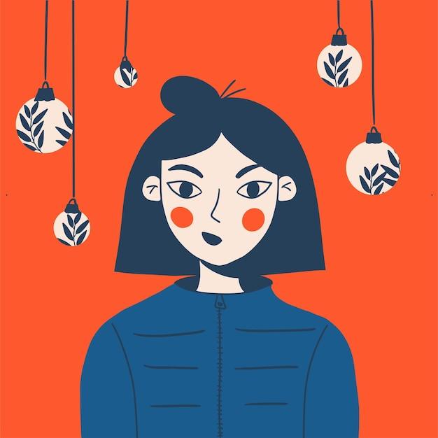 Ritratto d'avanguardia della ragazza festiva con le palle di natale. biglietto di auguri con capodanno e natale.