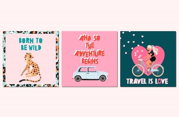 Set di carte estate preventivo alla moda. concetto di vacanza estiva. carte disegnate a mano e citazioni scritte a mano alla moda. cartolina d'auguri, modelli di poster web. animali selvatici, testo moderno e palme.