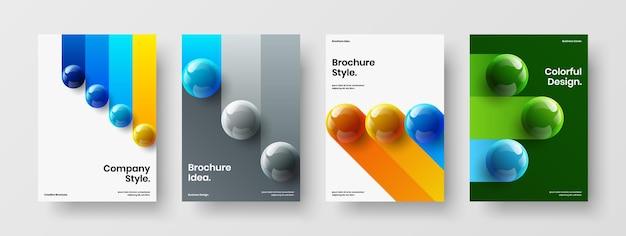 Composizione del layout della copertina del libro di palle realistiche alla moda