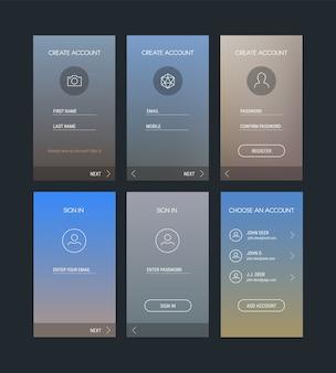 Modelli di interfaccia utente mobile reattivi alla moda del modello di app mobile di accesso e registrazione
