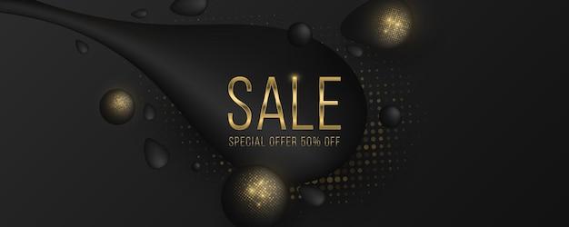 Banner di vendita alla moda. forme liquide nere con effetto mezzitoni glitter dorato.