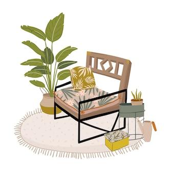 Trendy scandinavian urban greenery at home jungle interior con decorazioni per la casa. accogliente giardino domestico arredato in stile hygge. illustrazione di crazy plant lady. isolato