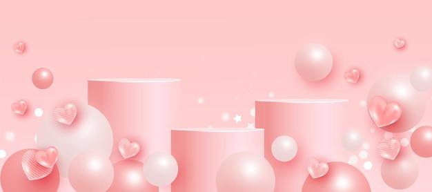 Scena alla moda con podio o piattaforma, forme geometriche a palla volante ed elementi d'amore su sfondo rosa. scena minimale con forme geometriche per la presentazione del prodotto.