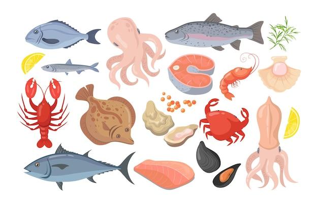 Raccolta di immagini piatte di frutti di mare alla moda