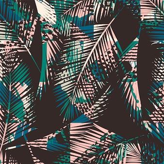 Modello esotico senza giunte di tendenza con i pruni di palma e animale