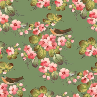 Reticolo di fiore senza giunte d'avanguardia con gli uccelli. illustrazione