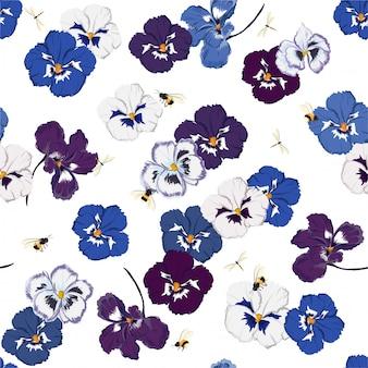 Modello senza cuciture alla moda in vettoriale viola del pensiero del fiore con libellula e bumble bess, design per la moda, tessuto, web, carta da parati e tutte le stampe
