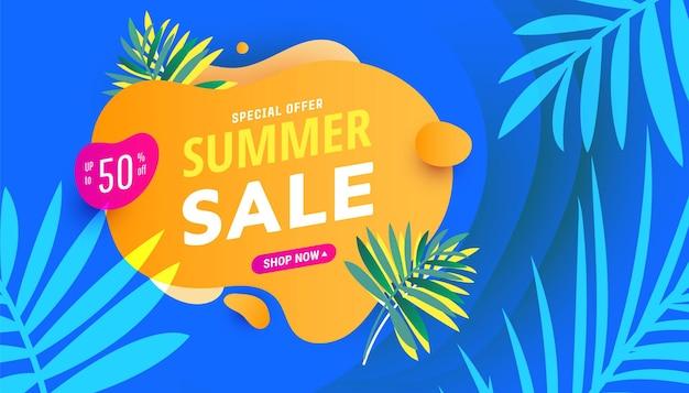 Modello di banner gradiente di promozione di vendita di stagione alla moda