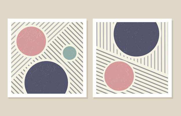 Un insieme alla moda di forme geometriche astratte in uno stile minimal