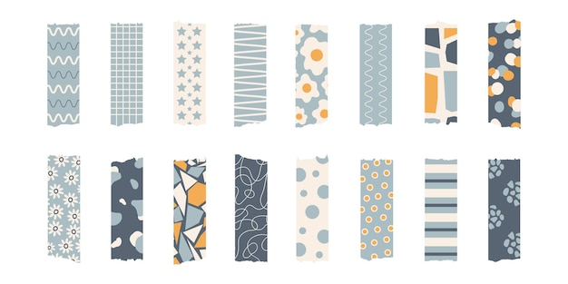 Set alla moda di nastro washi colorato ed elegante isolato su uno sfondo bianco