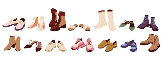 Collezione di scarpe alla moda nel design dei cartoni animati