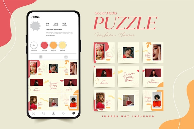 Modello di post puzzle social media alla moda per la pubblicità di prodotti femminili di moda
