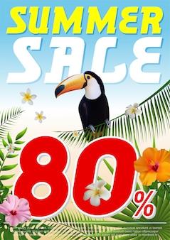 Volantino tropicale d'estate alla moda