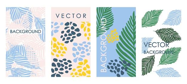 Inviti di foglie tropicali alla moda e design del modello di carta. set vettoriale astratto di sfondi floreali per striscioni, poster, modelli di copertina